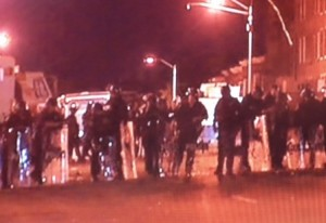 Baltimore riots police line
