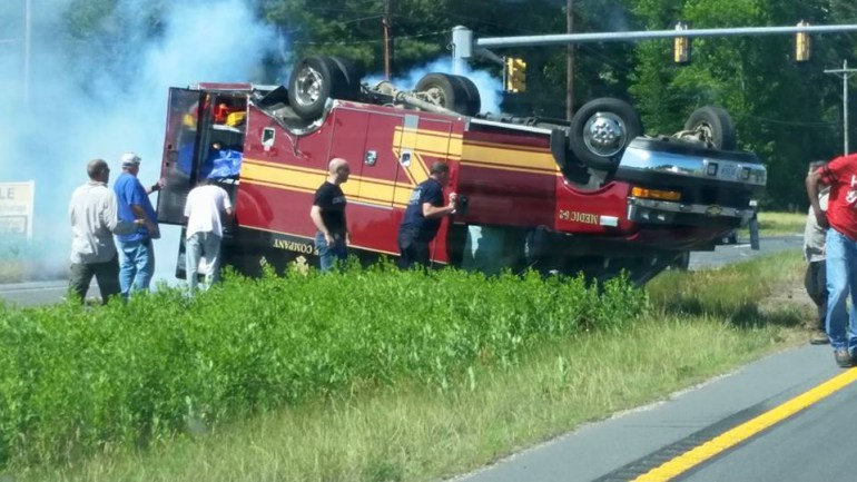 Bloxum ambulance ran red light and killed patient Accomack Co Va Rt. 13. Photo courtesy of WTKR