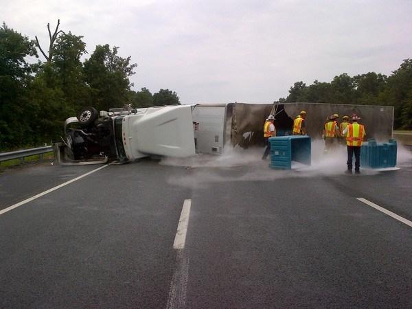 Dry ice truck overturns on 95 NBC12 photo