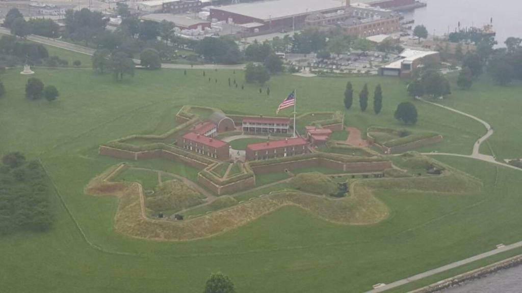 Fort McHenry photo by Baltimore Police Aviation Unit on the Fourth of July 2015