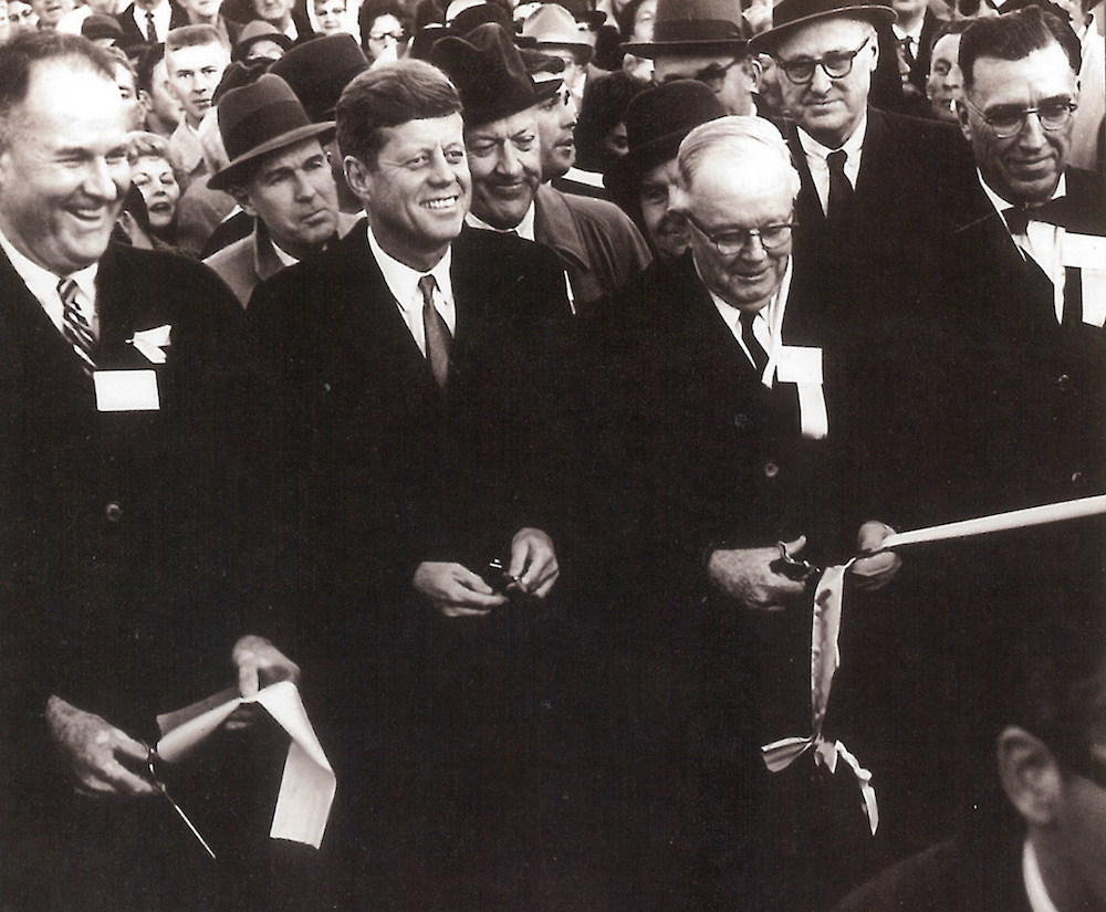 President John F. Kennedy and Maryland Gov. J Millard Tawes at 1963 ribbon cutting for I-95 photo by Md. DOT Timothy Hyman