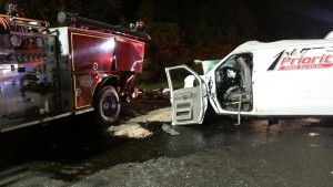 Ritchie VFD engine hit by van. Photo by Ritchie Vol Fire Department