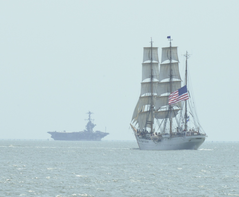The U.S. Coast Guard Cutter Eagle is shown sailing the waters of the Chesapeake Bay, near the city of Norfolk, Va., June 8, 2015. The Eagle's crew recently participated in the 39th Annual Norfolk Harborfest. (U.S. Coast Guard photo by Auxiliarist Trey Clifton)