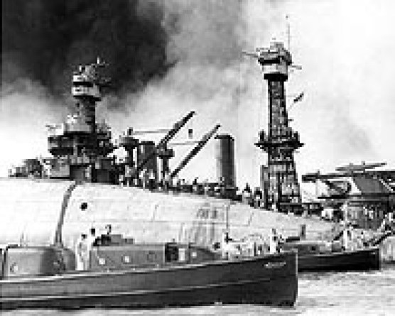 USS Maryland USS Oklahoma after being hit in sneak Jap attack on Pearl Harbor.