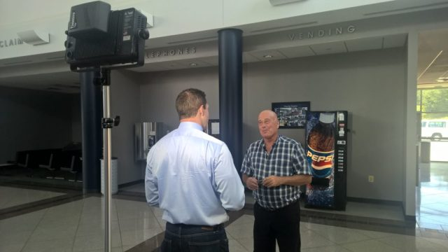 ABC 7 Investigative reporter Chris Papst interviews former St. Mary's Commissioner Larry Jarboe in the St. Mary's Airport terminal which has never had a paying customer or a flight since it was built in 1998. THE CHESAPEAKE TODAY photo
