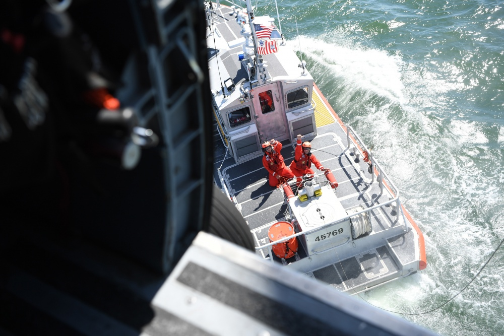 Coast Guard training by crew from Station Elizabeth City Crew from Station Elizabeth City give hand signals during training Monday, June 13, 2016.