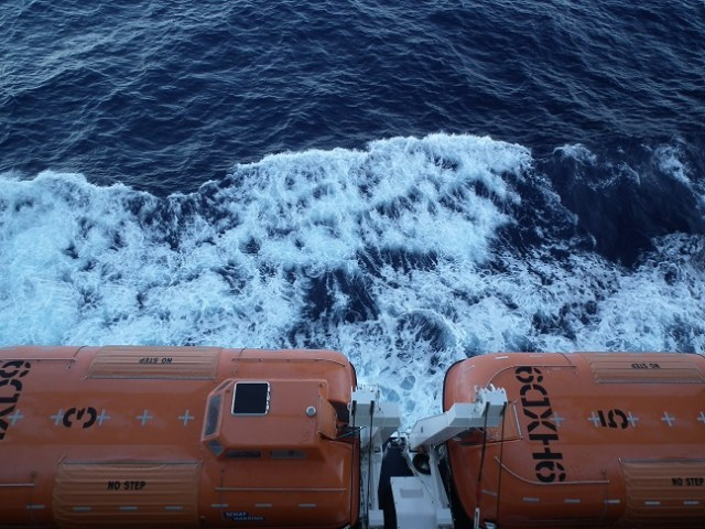 Lifeboats like these fell on top of crewmembers of the Norwegian Gem, killing one man during a drill in Bermuda. THE CHESAPEAKE TODAY photo