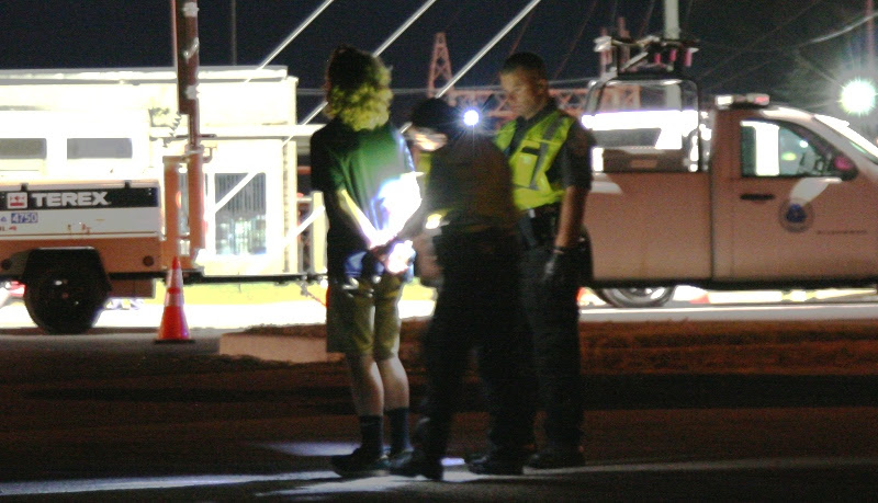 ehoboth Police handcuff a DUI driver at checkpoint on July 17 2016 photo courtesy of Beach News by Alan Henney