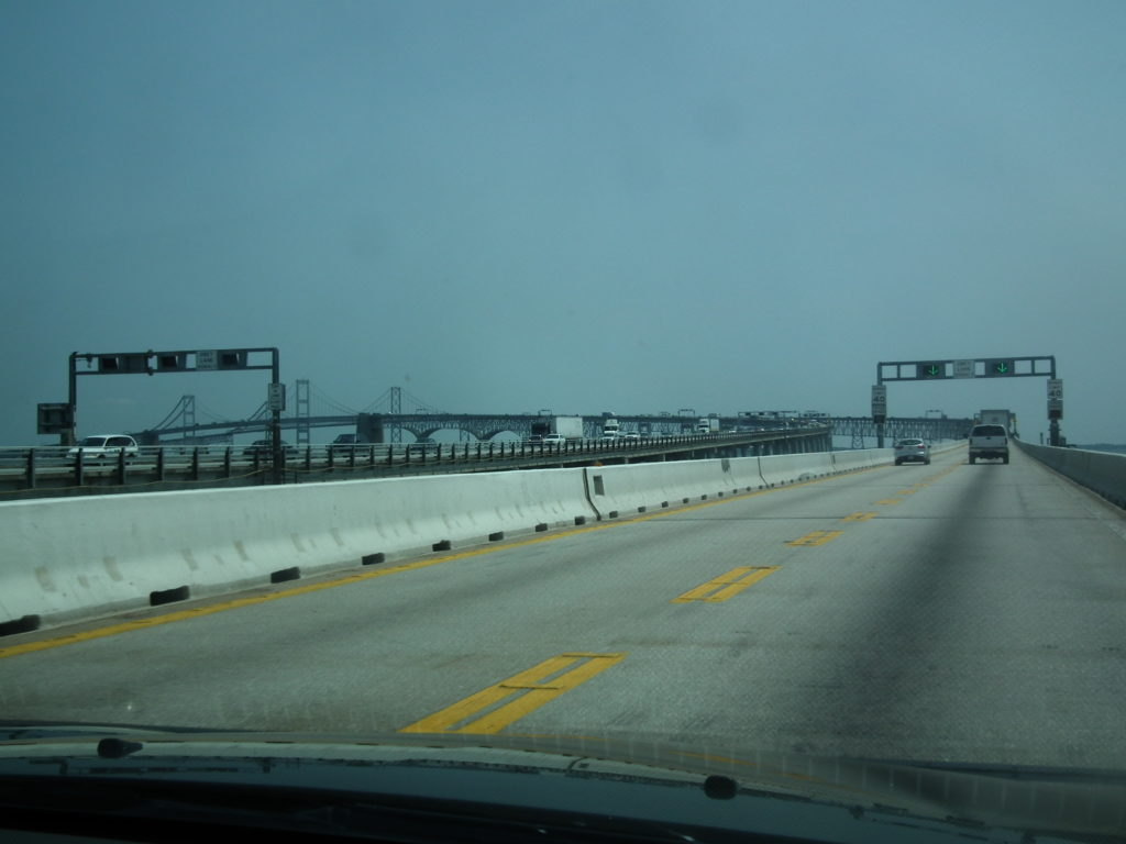 Two spans of the present Chesapeake Bay Bridge carry five lanes of traffic. THE CHESAPEAKE TODAY photo