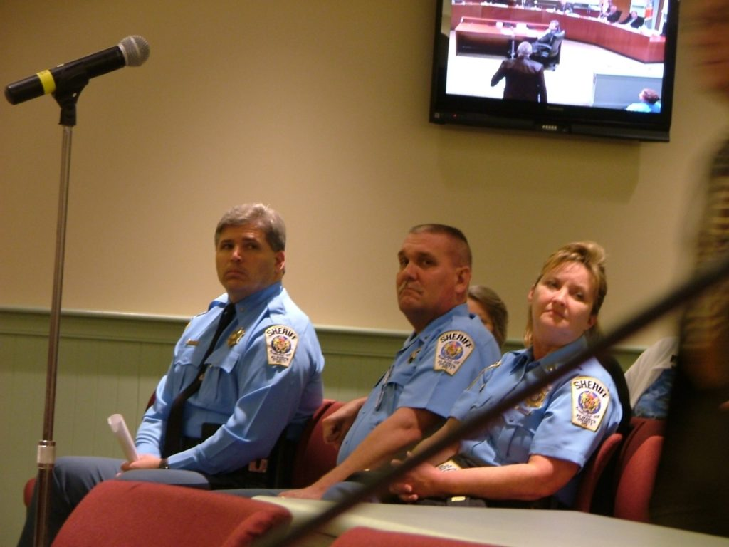 St. Mary's Sheriff Tim Cameron with Captain Michael Merican, center at Budget Hearing.