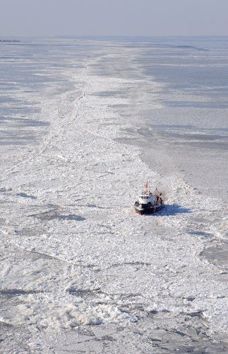 Cold day to be boating on the Chesapeake Bay. Coast Guard photo