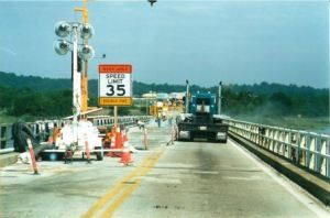 Benedict Bridge deck repaving and repair. This draw bridge swing span carries Rt. 231 over the Patuxent River near where the British fleet landed during the War of 1812 and then invaded Washington, D.C.  THE CHESAPEAKE TODAY photo