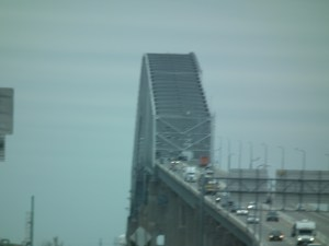 Francis Scott Key Bridge, named for the lawyer who penned the Star Spangled Banner, the National Anthem, carries traffic on the Baltimore Md. Beltway to the east of the city. Ships to the busy port pass underneath.  THE CHESAPEAKE TODAY photo