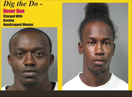 Dover Duo charged with beating handicapped woman. Shawn Horsey, right, with his hair standing on end. Left, is Michael Carrington-Barlow