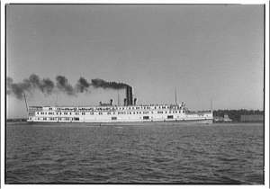 Steamboat on the Potomac River. This was the method of travel for those reaching the many hotels on the Chesapeake Bay, including Point Lookout Hotel.