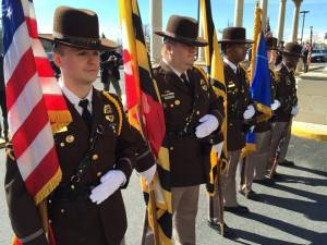 Honor Guard of Charles County Deputies at funeral of Prince George's County Officer Rabain