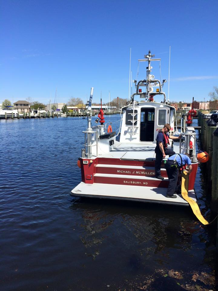 Salisbury Fire Department training included fireboat.  photo Salisbury FD