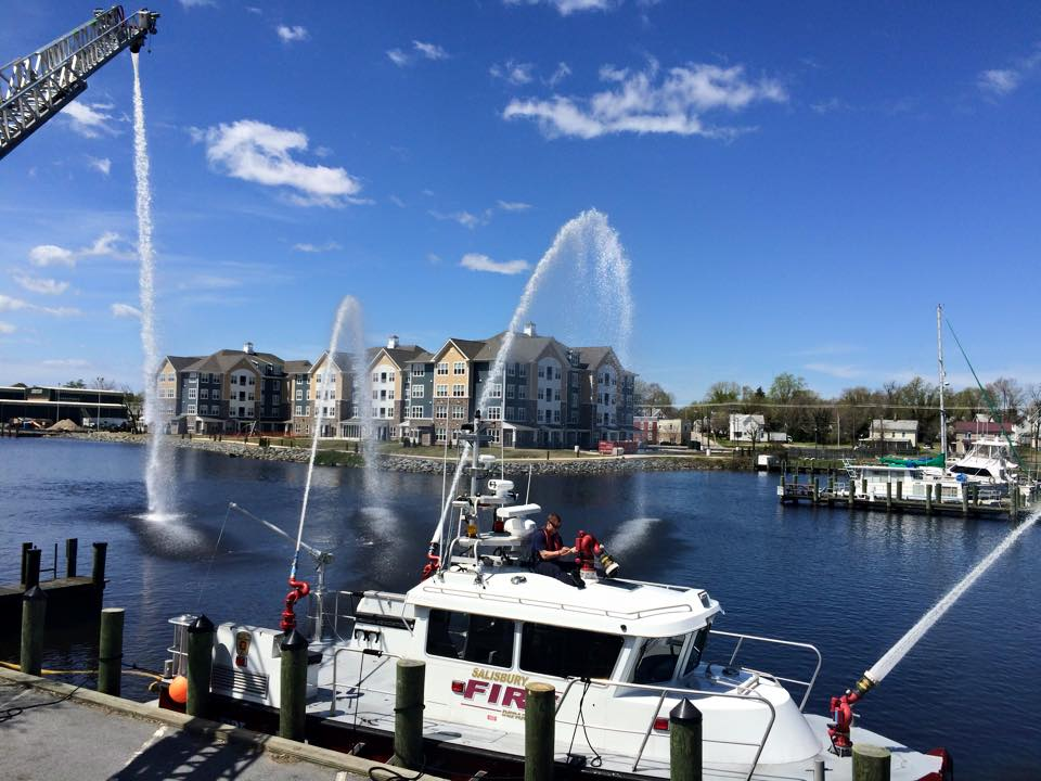 With extensive housing along the river in Salisbury, traing of fire attacks by land and sea is essential. Photos Salisbury Fire Department.