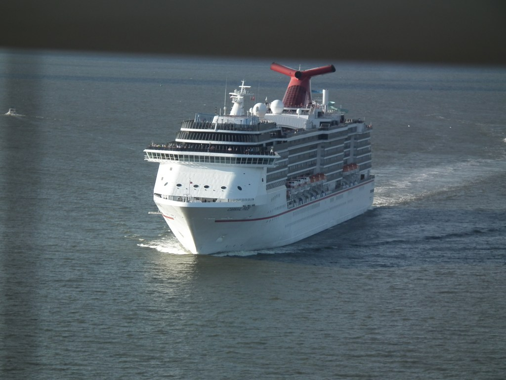 The Carnival Pride, home-ported in Baltimore, sails south down the Chesapeake Bay. THE CHESAPEAKE TODAY photo