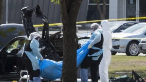 Dead terrorist hauled away after attack on cartoon contest in Texas