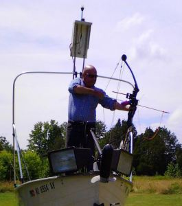 Cap'n Larry Jarboe's Jon boat rigged for night fishing