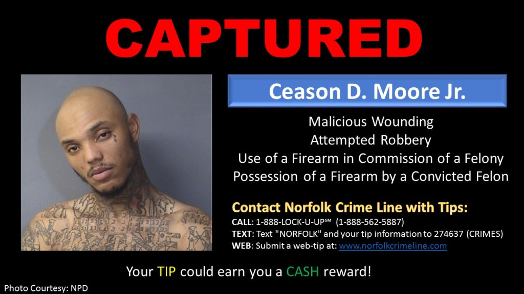 Ceason Moore captured in Norfolk Va 012916