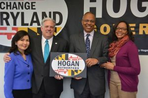 Governor Larry Hogan and Lt. Gov. Boyd Rutherford, center.