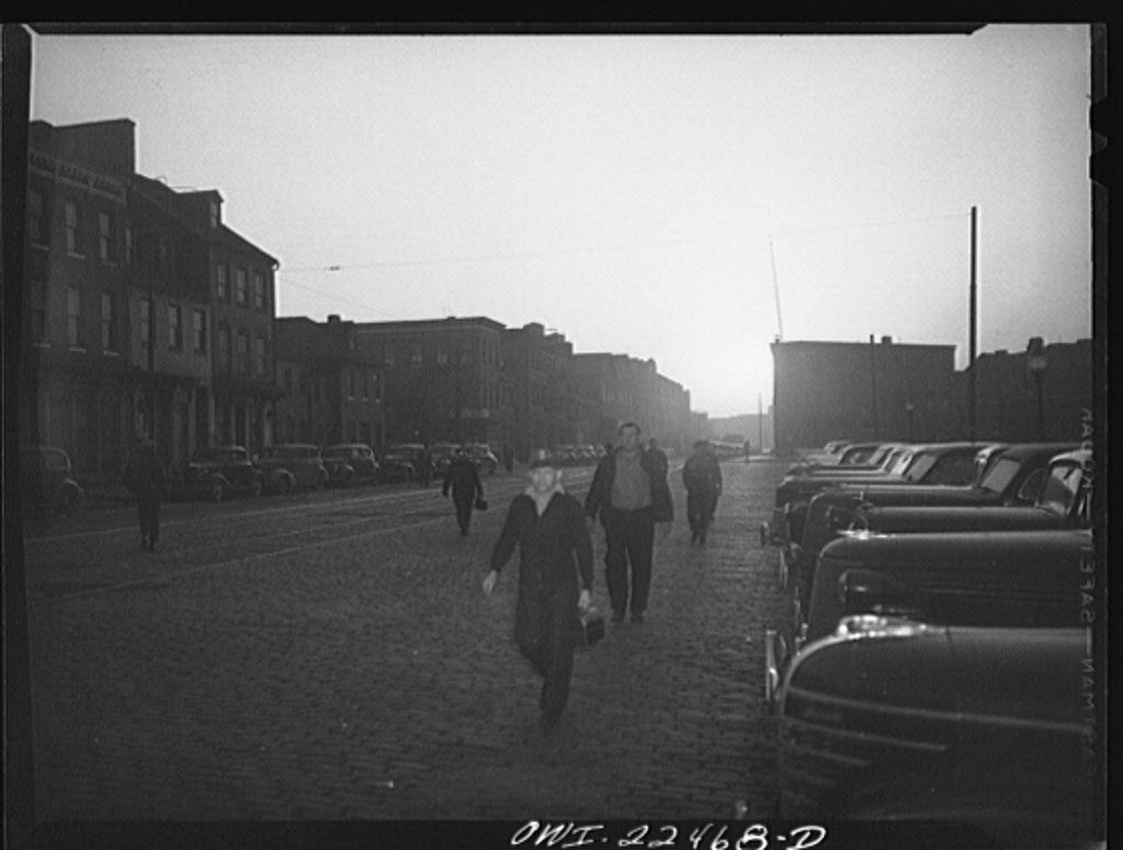 Workers at Bethlehem Steel Shipyard on their way to work in 1943 in Baltimore, Md. Photo by Marjory Collins