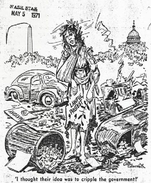 War protesters left mess behind in Lafayette Park Editorial cartoon in Washington Star May 5, 1971 Gib Crockett