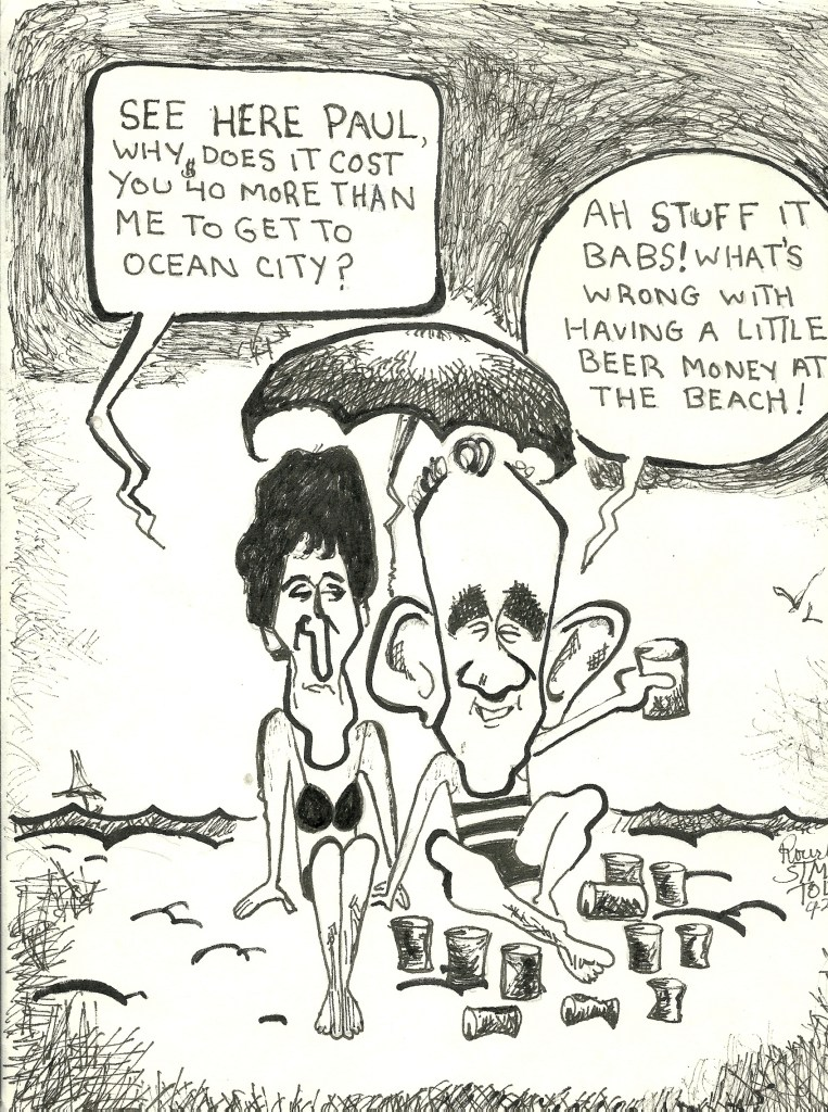 County Commissioners from all over Maryland go to beach on taxpayer's dime, with all expenses paid so they can attend the Maryland Association of Counties Convention. They sit around and listen to other blowhard politicians, play golf and eat crabs with lobbyists and taxpayers pay for it all. This cartoon is of Barbara Babs Thompson and Paul Chesser.