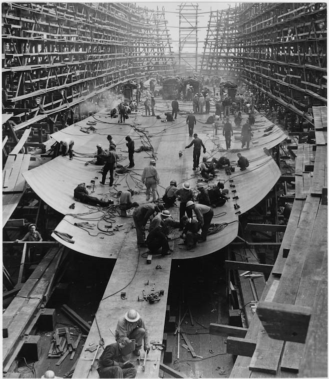 Day one of the ten days it took to build the Liberty Ship SS Joseph N. Teal by the Oregon Shipbuilding Corporation, run by Henry Kaiser. Sept 13, 1942