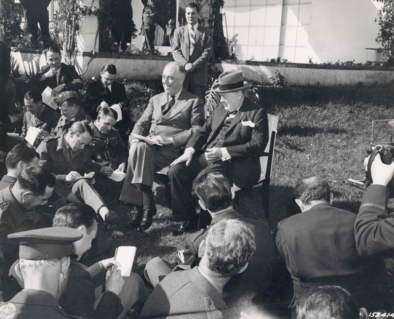 Franklin D. Roosevelt and Winston Churchill at a press conference during the Casablanca Conference. 1943
