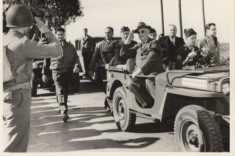 President Roosevelt reviewing troops at Rabat, Morocco while at the Casablanca Conference. Jan. 21, 1943