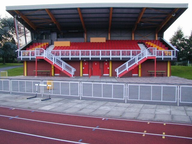 This photo provided by wrexham fc shows the empty stands of the. yqueenspark