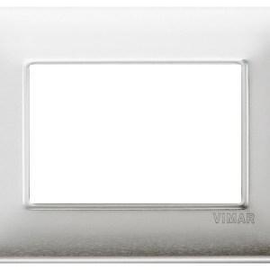 Placca 3 Moduli alluminio spazzolato 14653.81 VIMAR PLANA