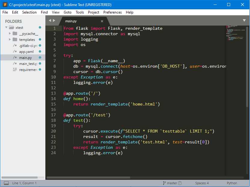 This shows the GUI of Sublime-text