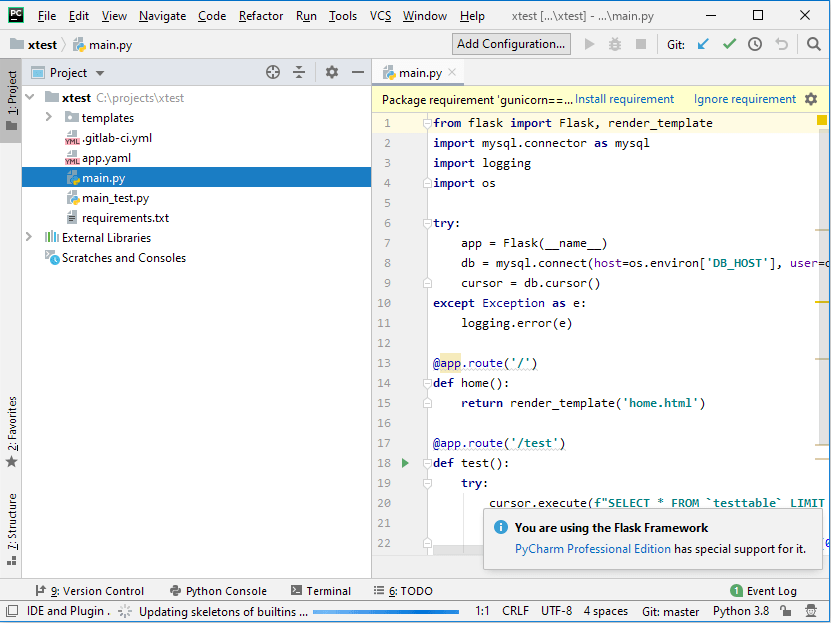 This shows the GUI of PyCharm