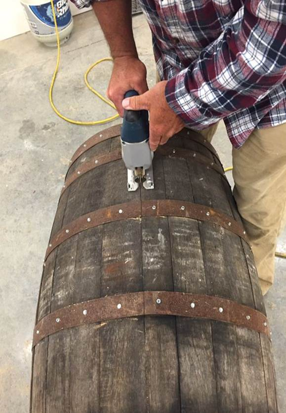 cutting barrel in half