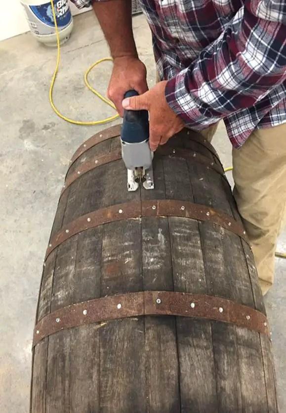 cutting barrel in half