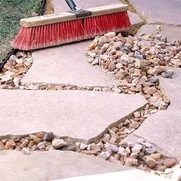 gravel between paving stones