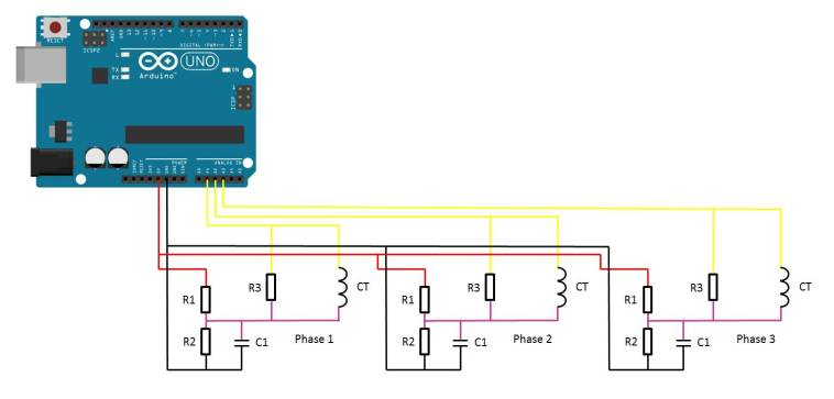 3 phase energy meter circuit diagram