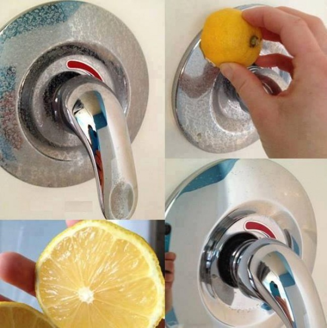 using a lemon to clean metals in your shower