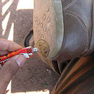 repair holes in your shoes with a puncture repair kit