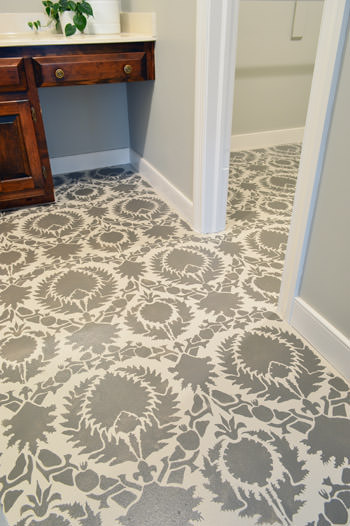 stenciled floor completed