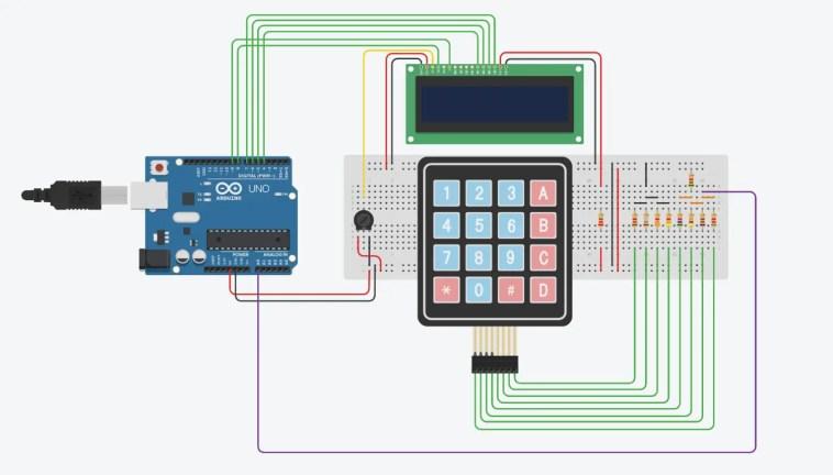 Circuit - 4x4 Keypad To One Arduino Input