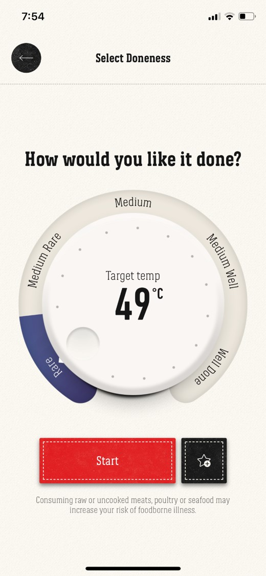 iGrill App Selecting How You Like Your Steak