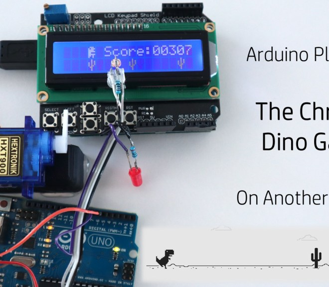 An Arduino Playing The Chrome Dino Game On Another Arduino