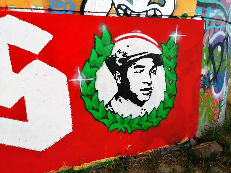 Hilarius Gilges zum Geburtstag - ein Grafito an der Hammer Eisenbahnbrücke