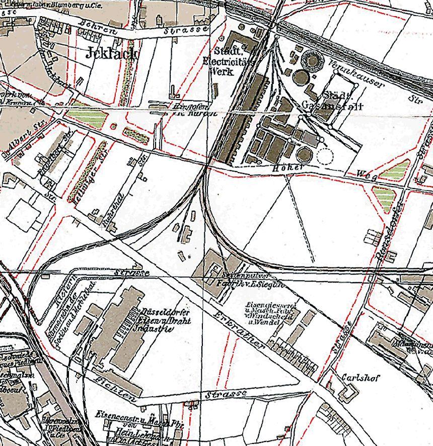 Ausschnitt aus einem Stadtplan von 1906 (Screenshot maps.duesseldorf.de)