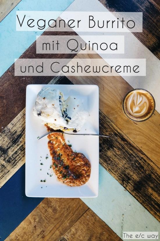 Veganer Burrito mit Quinoa und Cashewcreme